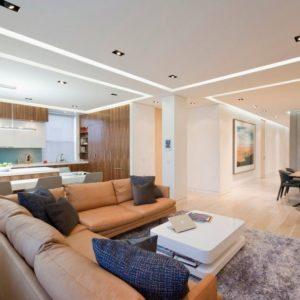 дизайн потолка гостиной свет линии неон