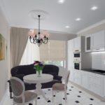 дизайн проект студии 1 комнатной квартиры классика