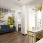 дизайн проект студии 1 комнатной квартиры яркие цвета