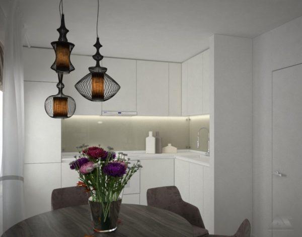 дизайн проект 2 комнатной квартиры эклектика