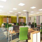 дизайн проект большого офиса в светлых тонах зеленый