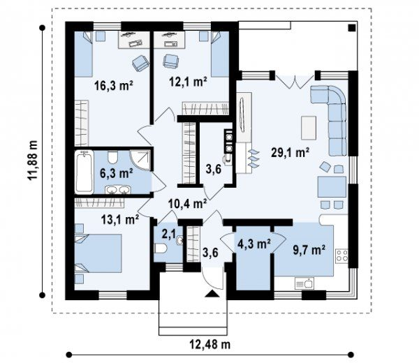 дизайн проект одноэтажного дома